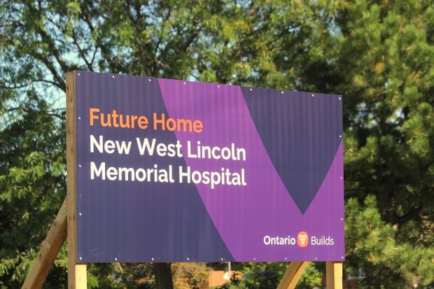 Sign that reads: Future Home New West Lincoln Memorial Hospital, Ontario Builds